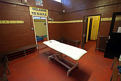 A general view of the away dressing room at Gander Green Lane, home of Sutton United Football Club in South London.