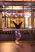 British snowboarder Aimee Fuller at Core Collective gym on 13th July in London, United Kingdom.