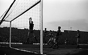 05/05/1965<br /> 05/05/1965<br /> 05 May 1965<br /> Ireland v Spain, World Cup Qualifier at Dalymount Park, Dublin. Irelands winning goal from Frank O'Neill is diverted into the net by Iribar, the Spanish goalie.