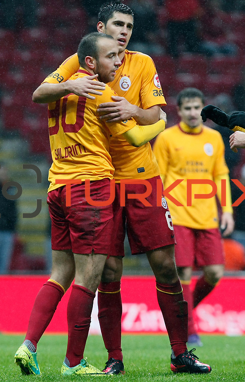 Galatasaray's Sercan Yildirim (L) celebrate his goal with team mate during their Turkey Cup matchday 3 soccer match Galatasaray between AdanaDemirspor at the Turk Telekom Arena at Aslantepe in Istanbul Turkey on Tuesday 10 January 2012. Photo by TURKPIX