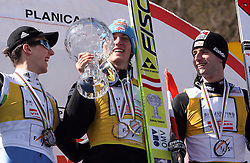 Best overall individuals in World cup standings second Simon Ammann (SUI), winner Gregor Schlierenzauer (Austria) and third placed Wolfgang Loitzl (AUT) at Flying Hill Individual in 4th day of 32nd World Cup Competition of FIS World Cup Ski Jumping Final in Planica, Slovenia, on March 22, 2009. (Photo by Vid Ponikvar / Sportida)