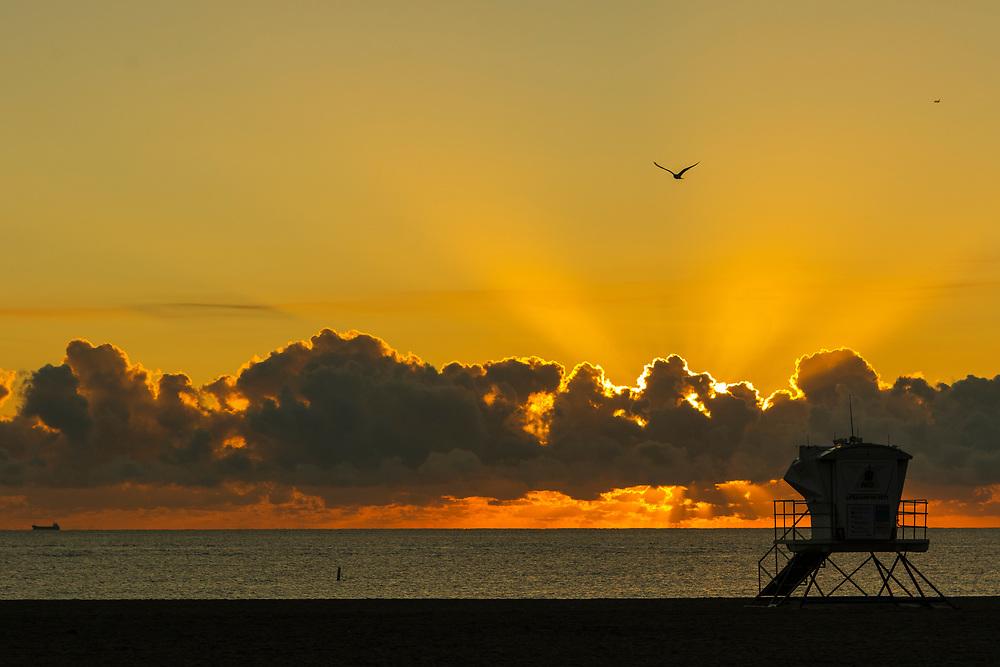 Feb. 5, 2019: The sun rises off the coast of Fort Lauderdale Beach Park.