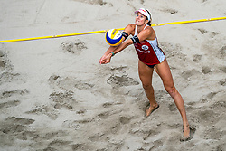Jorna Heidrich SUI in action during the third day of the beach volleyball event King of the Court at Jaarbeursplein on September 11, 2020 in Utrecht.