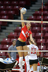 18 AUG 2007: Peggy Riessen practices her spike during pre-game warm-ups. The Illinois State Redbirds, picked for 5th in the pre-season Missouri Valley Conference coaches poll, prepare for the beginning of the season during the annual Red/White inter-squad scrimmage at Redbird Arena in Normal Illinois.