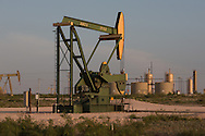 Landscape in Eddy County New Mexico with fracking industry installations as far as the eye can see. <br /> Eddy County's oil patch in the Permian Basin is experiencing an oil boom due to the fracking industry.