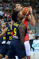 Spain's Marc Gasol and Venezuela's Windi Graterol and Pedro Chourio during friendly match for the preparation for Eurobasket 2017 between Spain and Venezuela at Madrid Arena in Madrid, Spain August 15, 2017. (ALTERPHOTOS/Borja B.Hojas)