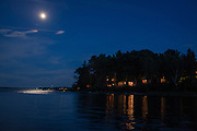 Southwest Harbor, ME - 8 August 2014. Moon over Clark Point, Southwest Harbor.