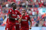 Bristol Aaron Wilbraham (18) celebrates his goal with team mate Tammy Abraham (9). Making it 1-1.   during the EFL Sky Bet Championship match between Bristol City and Derby County at Ashton Gate, Bristol, England on 17 September 2016. Photo by Gary Learmonth.