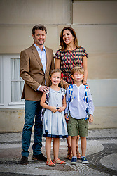 Crown Prince Frederick and Crown Princess Mary of Denmark pose along with their twin children Prince Vincent and Princess Josephine outside Amalienborg palace in Copenhagen, Denmark, on Tuesday August 15, 2017. Prince Vincent and Princess Josephine, both born in 2011, begin in grade 0 at Tranegard School in Hellerup on Tuesday. The twins are the youngest children of the crown princely couple. Photo by Robin Utrecht/ABACAPRESS.COM