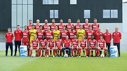July 18, 2018 - Waregem, BELGIUM - (L-R, upper row) Essevee's Erdin Demir, Essevee's Mikael Soisalo, Essevee's Florian Tardieu, Essevee's Damien Marcq, Essevee's Nill De Pauw, Essevee's Marco Burki, Essevee's Frederik Oldrup Jensen, Essevee's Henrik Bjordal, Essevee's Michael Heylen, (L-R, middle row) Essevee's physical coach Bram De Winne, Essevee's physical coach Jarno De Vleeschauwer, Essevee's Hicham Faik, Essevee's goalkeeper Louis Bostyn, Essevee's Hamdi Harbaoui, Essevee's Timothy Derijck, Essevee's goalkeeper Sammy Bossut, Essevee's Davy De Fauw, Essevee's Marvin Baudry, Essevee's Eike Bansen, Essevee's Johan Bjordal, Esseevee's assistant coach Eddy Van den Berge, Esseevee's assistant coach Ronny Verriest, Essevee's goalkeeper coach Gianny De Vos, (L-R, front) Essevee's Urho Nissila, Essevee's Bryan Verboom, Essevee's Onur Kaya, Essevee's Theo Bongonda, Essevee's head coach Francky Dury, Essevee's Sandy Walsh, Essevee's Thomas Buffel, Essevee's Kingsley Madu and Essevee's Gertjan De Mets pose for the 2018-2019 season photo shoot of Belgian first league soccer team SV Zulte Waregem, Monday 16 July 2018 in Waregem. BELGA PHOTO DAVID CATRY (Credit Image: © David Catry/Belga via ZUMA Press)