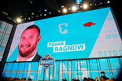 April 26, 2018 - Arlington, TX, U.S. - ARLINGTON, TX - APRIL 26:  Frank Ragnow on the video board after being chosen by the Detroit Lions with the 20th pick during the first round at the 2018 NFL Draft at AT&T Statium on April 26, 2018 at AT&T Stadium in Arlington Texas.  (Photo by Rich Graessle/Icon Sportswire) (Credit Image: © Rich Graessle/Icon SMI via ZUMA Press)