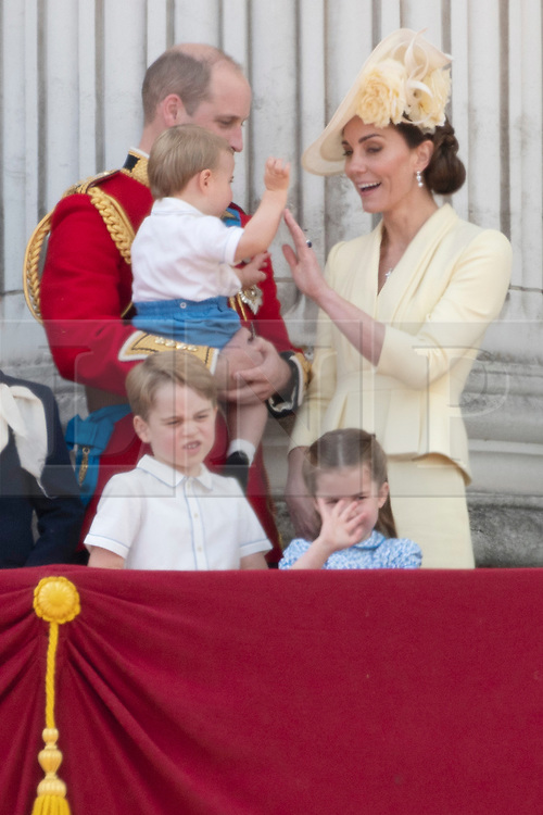 © Licensed to London News Pictures. 08/06/2019. London, UK. Prince William, Catherine Duchess of Cambridge, Prince Louis, Prince George and Princess Charlotte attend Trooping the Colour ceremony to mark Queen Elizabeth II's 93rd birthday. Photo credit: Ray Tang/LNP