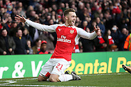 Calum Chambers of Arsenal celebrates scoring his sides 1st goal. The Emirates FA cup, 4th round match, Arsenal v Burnley at the Emirates Stadium in London on Saturday 30th January 2016.<br /> pic by John Patrick Fletcher, Andrew Orchard sports photography.