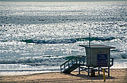 Lifeguard Tower Sits on the Sand in Manhattan Beach