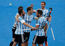 Manuel Brunet of Argentina celebrates after scoring during the Men's World Hockey League, semi-final match at Lee Valley Hockey Centre, London.