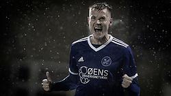 Kristoffer Munksgaard (Fremad Amager) jubler efter scoringen til 3-0 under kampen i 1. Division mellem Fremad Amager og FC Helsingør den 21. oktober 2020 i Sundby Idrætspark (Foto: Claus Birch).