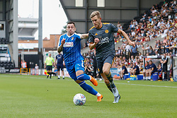 Kristian Dennis of Notts County chases down Callum Elder of Leicester City - Mandatory by-line: Ryan Crockett/JMP - 21/07/2018 - FOOTBALL - Meadow Lane - Nottingham, England - Notts County v Leicester City - Pre-season friendly