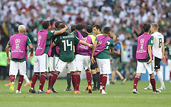 MOSCOW, June 17, 2018  Players of Mexico celebrate their victory after a group F match between Germany and Mexico at the 2018 FIFA World Cup in Moscow, Russia, June 17, 2018. Mexico won 1-0. (Credit Image: © Xu Zijian/Xinhua via ZUMA Wire)