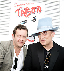 Boy George <br /> <br /> announcing the come back of the Boy George musical 'Taboo' at Brixton Club House in September 2012 <br /> <br /> press conference <br /> 26th June 2012 <br /> <br /> Paul Baker who is reprising the role of Philip Salon <br /> &<br /> Boy George<br /> <br /> Photograph by Elliott Franks