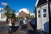 Islande, Reykjavik, Bankastraeti, la rue commercante // Iceland, Reykjavik, commercial street Bankastraeti