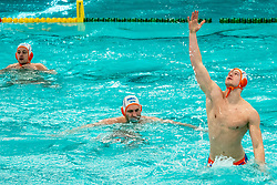 Guus Wolswinkel of the Netherlands against Romania during the Olympic qualifying tournament. The Dutch water polo players are on the hunt for a starting ticket for the Olympic Games on February 16, 2021 in Rotterdam
