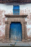 ancient door in the peruvian Andes at Moray in Cuzco Peru
