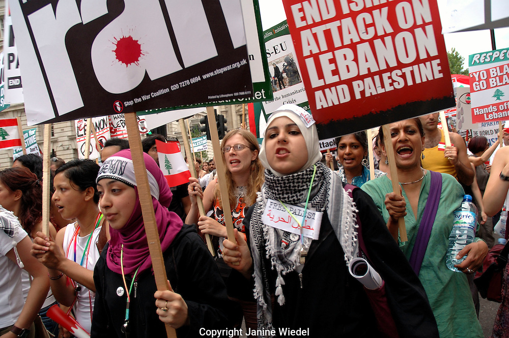 Stop the War demonstration of more than 100,000 marchers through central London demanding a ceasefire to end Israeli attack on Hizbollah in Lebanon 22 July 2006.