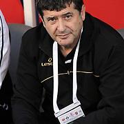 Altayspor's coach Guvenc KURTAR during their Play Off First leg match at Ataturk olympic Stadium in Istanbul Turkey on Monday, 17 May 2010. Photo by TURKPIX