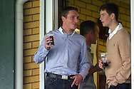 Irish National Hunt jockey's Daryl Jacob (left) and Joe Tizzard enjoy a night out watching the Capital One Cup match, 2nd round, Yeovil Town v Birmingham City at Huish Park in Yeovil on Tuesday 27th August 2013. pic by Sophie Elbourn, Andrew Orchard sports photography,