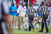 FAYETTEVILLE, AR - OCTOBER 17:    Head Coach Lane Kiffin of the Mississippi Rebels argues a call with the officials during a game against the Arkansas Razorbacks at Razorback Stadium on October 17, 2020 in Fayetteville, Arkansas.  The Razorbacks defeated the Rebels 33-21.  (Photo by Wesley Hitt/Getty Images) *** Local Caption *** Lane Kiffin