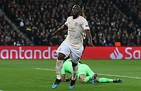 Football - 2018 / 2019 UEFA Champions League - Round of Sixteen, Second Leg: Paris Saint-Germain (2) vs. Manchester United (0)<br /> <br /> Romelu Lukakau of Manchester United runs through to score the opening goal ,at Parc des Princes, Paris.<br /> <br /> COLORSPORT/IAN MACNICOL