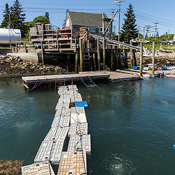 Bins of lobsters are stored in an aerated pond at Vinalhaven Fishermen's Co-op in Vinalhaven, Maine.
