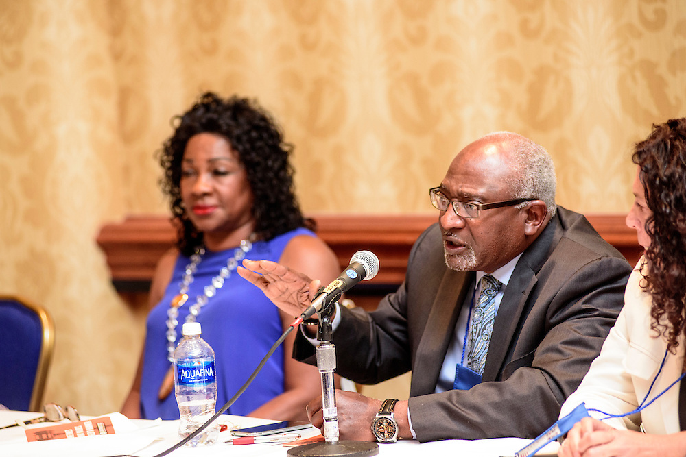 """Washington, D.C. - August 05, 2016: Panelists (L-R) Dr. Beverly Wright, Executive director of Dillard University's Deep South Center for Environmental Justice, Dr. Robert Bullard, Dean of the School of Public Affairs at Texas Southern University, and Lisa Garcia, Vice President of Healthy Communities at Earthjustice answer audience questions at the Earthjustice hosted """"Environmental Justice 101"""" event during the National Association of Black Journalists/National Association of Hispanic Journalists event Friday Aug. 5., 2016 from 2:45-4:15 pm at the Washington Marriott Wardman Park. <br /> <br /> <br /> Panelists are: Moderator, Darryl D. Fears, Reporter, The Washington Post, Martha Dina Arguello, Executive Director of Physicians for Social Responsibility, Dr. Beverly Wright, Executive director of Dillard University's Deep South Center for Environmental Justice, Dr. Robert Bullard, Dean of the School of Public Affairs at Texas Southern University, and Lisa Garcia, Vice President of Healthy Communities at Earthjustice.<br /> <br /> CREDIT: Matt Roth"""