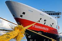 Hurtigruten coastal steamer Finnmarken at Dock, Norway