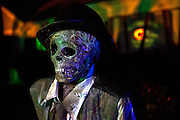"""One of the skeletons in Chris Baker's haunted yard in South Yarmouth, MA. Every year Baker sets up an elaborate Halloween display in his yard and on Halloween, neighborohood residents walk through his frightening """"vortex"""" of horror while trick or treating."""