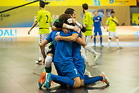 Ugra Yugorsk's players celebrating a goal during UEFA Futsal Cup 2015/2016 Final match. April 22,2016. (ALTERPHOTOS/Acero)