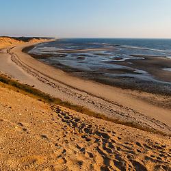 View from the dunes at Duck Harbor Beach in Wellfleet, Massachusetts. Cape Cod.