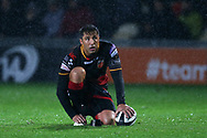 Gavin Henson of the Dragons prepares to kick a conversion.  Guinness Pro14 rugby match, Dragons v Southern Kings at Rodney Parade in Newport, South Wales on Saturday 30th September 2017.<br /> pic by Andrew Orchard, Andrew Orchard sports photography.