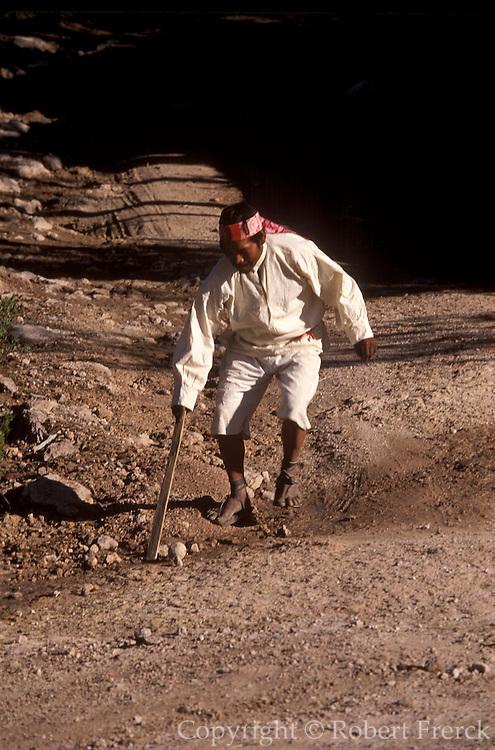 MEXICO, CHIHUAHUA Copper Canyon Tarahumara Indian, ball