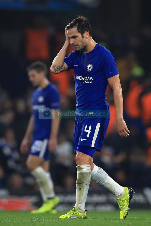 Chelsea's Cesc Fabregas appears dejected