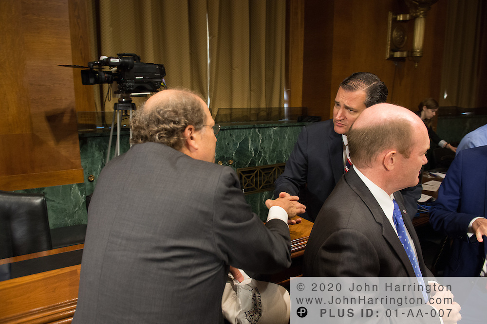 """Mr. Paul Rosenzweig greets Sen. Ted Cruz Wednesday September 14, 2016, before the Subcommittee on Oversight, Agency Action, Federal Rights and Federal Courts, testimony was also heard from The Honorable Lawrence E. Strickling, Assistant Secretary for Communications and Information and Administrator<br /> National Telecommunications and Information Administration (NTIA), United States Department of Commerce;  Mr. Göran Marby, CEO and President, Internet Corporation for Assigned Names and Numbers (ICANN); Mr. Berin Szoka, President, TechFreedom; Mr. Jonathan Zuck, President, ACT The App Association;  Ms. Dawn Grove, Corporate Counsel<br /> Karsten Manufacturing; Ms. J. Beckwith (""""Becky"""") Burr, Deputy General Counsel and Chief Privacy Officer, Neustar;  Mr. John Horton, President and CEO, LegitScript;  Mr. Steve DelBianco, Executive Director, NetChoice; Mr. Paul Rosenzweig, Former Deputy Assistant Secretary for Policy, U.S. Department of Homeland Security."""