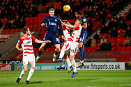 Southend United forward Stephen Humphrys (39) heads on target during the EFL Sky Bet League 1 match between Doncaster Rovers and Southend United at the Keepmoat Stadium, Doncaster, England on 12 February 2019.