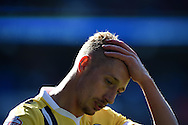 Lee Martin of Millwall looks on dejected as his team only manage a 0-0 draw in their survival fight.  Skybet football league championship, Cardiff city v Millwall at the Cardiff city stadium in Cardiff, South Wales on Saturday 18th April 2015<br /> pic by Andrew Orchard, Andrew Orchard sports photography.