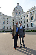 6/25/21  James Meredith poses with Terrence Roberts of The Little Rock Nine outside the Minnesota  State Capitol on their way to speak with Governor Tim Walz and Lt. Governor Peggy Flanagan.  Meredith says he was the George Floyd of his time, and today on his 88th Birthday is the sentencing of ex police officer Derek Chauvin. Meredith snd the Governor discussed racism, segregation, and how to solve these pressing issues facing communities across America.  Civil rights icon James Meredith is in Minnesota for More Than A Moment, a series of roundtable discussions with students, educators, lawyers, and community leaders and faith leaders to discuss ways to end racism and how to build strong community leaders. Meredith emphasized the importance of speaking the truth and working together to make change for the better in our communities. Photo © Suzi Altman 6/25/21  Pictured ,James Meredith, second from left, Governor Walz, left, Lt Governor Peggy Flanagan and Terrence Roberts of the Little Rock Nine.  Meredith says he was the George Floyd of his time, and today on his 88th Birthday is the sentencing of ex police officer Derek Chauvin for murdering George Floyd. Meredith and the Governor discussed racism, segregation, and how to solve these pressing issues facing communities across America.  Civil rights icon James Meredith is in Minnesota for More Than A Moment, a series of roundtable discussions with students, educators, lawyers, and community leaders and faith leaders to discuss ways to end racism and how to build strong community leaders. Meredith emphasized the importance of speaking the truth and working together to make change for the better in our communities. Photo © Suzi Altman