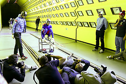 24.07.2015, Klima Wind Kanal, Wien, AUT, OESV, Skisprung, Training im Wind Kanal , im Bild Gregor Schlierenzauer mit Journalisten // during a trainingssession of the Austrian ski jumping team in the Climatic Wind Tunnel, Vienna, Austria on 2014/07/24. EXPA Pictures © 2015, PhotoCredit: EXPA/ Sebastian Pucher