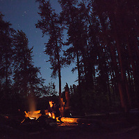 Camping on Pipestone Bay in the Boundary Waters Canoe Area Wilderness (BWCAW) in Minnesota. The BWCAW is part of Superior National Forest and is under the administration of the U.S. Forest Service. The wilderness area receives about 250,000 visitors each year and is one of the nation's most visited wilderness areas.