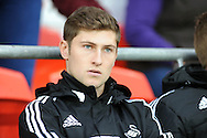 Ben Davies sits on the bench for Swansea City.<br /> Barclays Premier League match, Cardiff city v Swansea city at the Cardiff city stadium in Cardiff, South Wales on Sunday 3rd Nov 2013. pic by Phil Rees, Andrew Orchard sports photography,