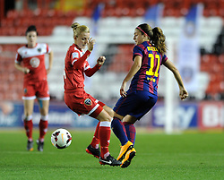 Bristol Academy Womens' Sophie Ingle closes down FC Barcelona's Alexia Putellas - Photo mandatory by-line: Dougie Allward/JMP - Mobile: 07966 386802 - 13/11/2014 - SPORT - Football - Bristol - Ashton Gate - Bristol Academy Womens FC v FC Barcelona - Women's Champions League