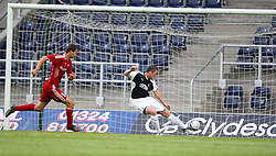 Scobbie clears of the line.<br /> Falkirk 1 v 0 FC Vaduz, Europa League Qualifying.<br /> ©2009 Michael Schofield. All Rights Reserved.