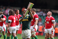 South Africa try scorer Juan De Jongh holds the Prince William Cup. Wales v South Africa,    at Millennium Stadium in Cardiff on Sat 5th June 2010. pic by Andrew Orchard,  Andrew Orchard sports photography,